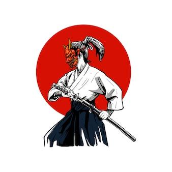 Samurai mit oni-maske