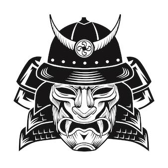 Samurai mit schwarzer maske. flaches bild des japanischen kämpfers. weinlesevektorillustration
