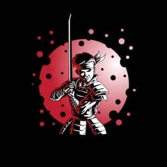 Samurai mit schwertvektorillustration