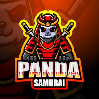 Samurai panda maskottchen esport illustration
