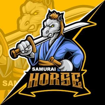 Samurai-pferd wütend, maskottchen-esport-logo-vektor-illustration für spiele und streamer