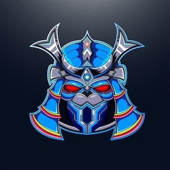 Samurai roboterkopf maskottchen logo