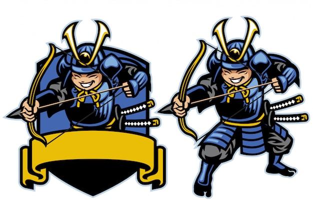 Samurai ronin krieger bogenschütze cartoon maskottchen