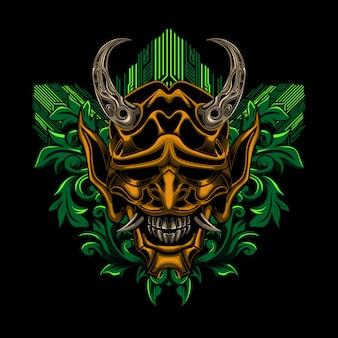 Samurai ronin-maskenblumenvektor-illustrationskunst