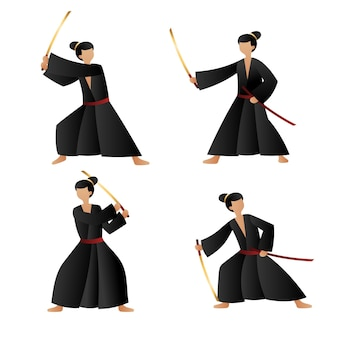 Samurai-sammlung mit farbverlauf illustriert