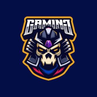 Samurai schädel logo maskottchen