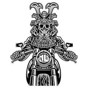 Samurai-schädel-radfahrer