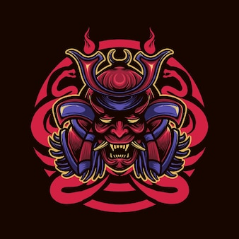 Samurai schlangenkopf illustration