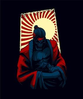 Samurai-seppuku-vektorillustration, geeignet für t-shirt, druck und merchandise-produkte
