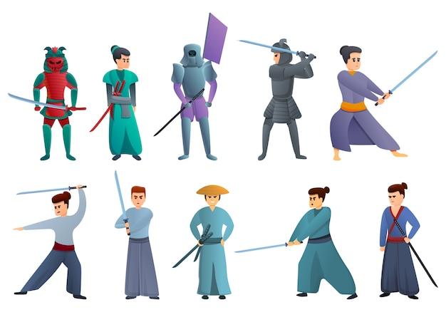 Samurai-set im cartoon-stil