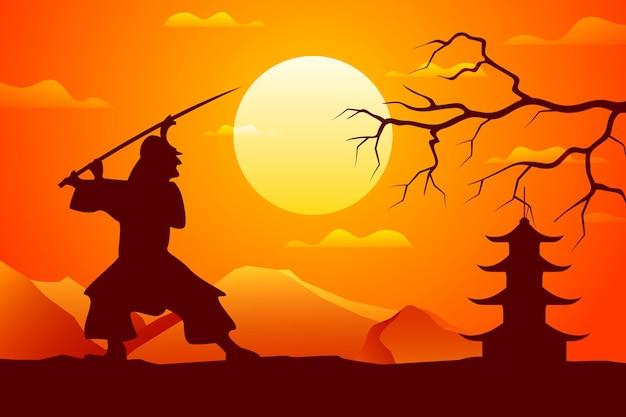 Samurai-silhouette-hintergrund mit farbverlauf
