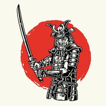Samurai-soldat in metallrüstung mit schwert im vintage-stil isolierte illustration