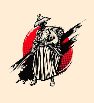 Samurai-stil tinte vintage-vektor