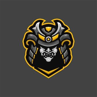 Samurai-teufelskopfkarikaturlogoschablonenillustration. esport logo spiel premium-vektor