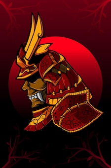 Samurai und rote mondvektorillustration