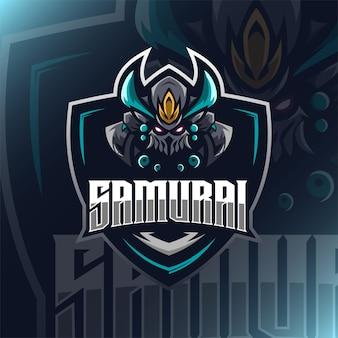 Samurai warrior logo maskottchen illustration für vorlage