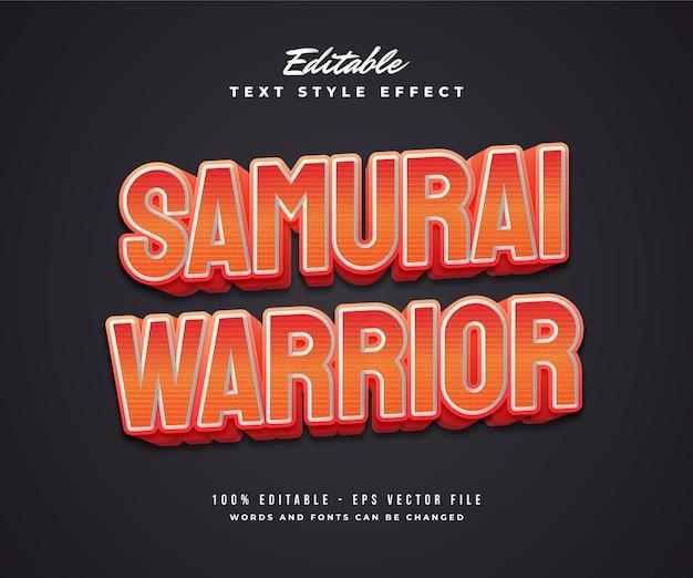 Samurai warrior text style in rot und weiß mit geprägtem effekt. bearbeitbarer textstileffekt