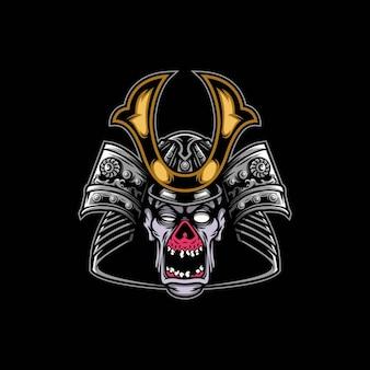 Samurai zombie maskottchen design