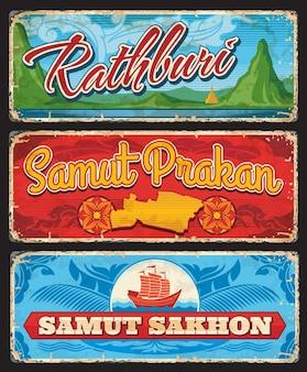 Samut sakhon, samut prakan und rathbury, vektor-thailand-provinzenzeichen. thailand-einreise singt oder reiseaufkleber und grunge-gepäckanhänger mit thailändischen wahrzeichensymbolen und karte