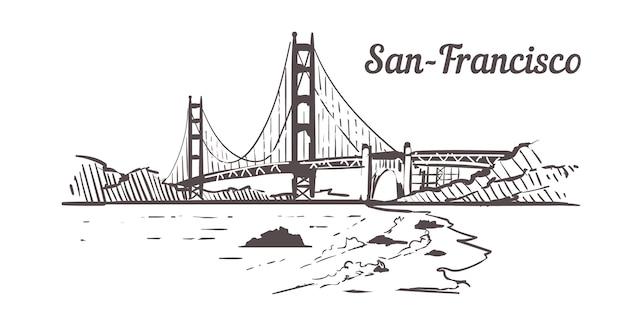 San francisco-skizzenlandschaft lokalisiert auf weiß