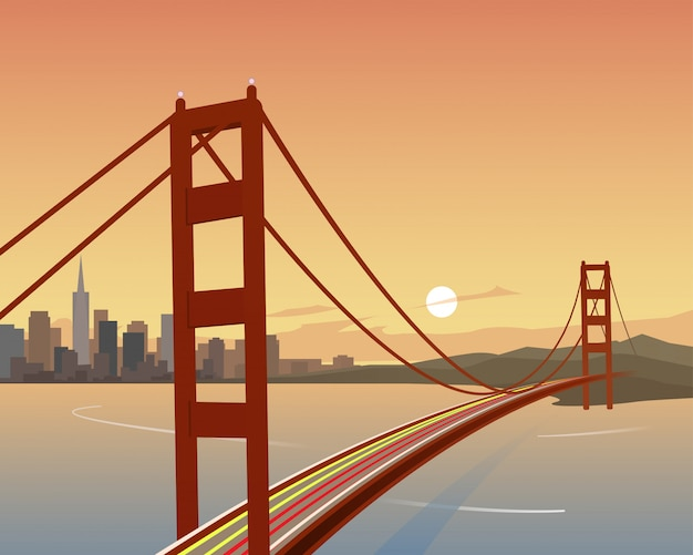 San francisco und golden gate bridge szene