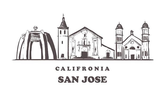 San jose skizze stadtbild lokalisiert auf weiß