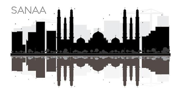 Sanaa city skyline schwarz-weiß-silhouette mit reflexionen vektor-illustration