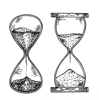 Sandglasskizzenillustration. sandglas, handgezeichnetes set