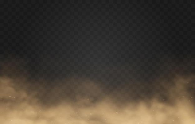 Sandige staubwolke auf transparentem hintergrund