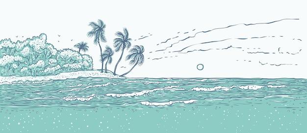 Sandige tropische insel mit palmen, meereswellen surfen.