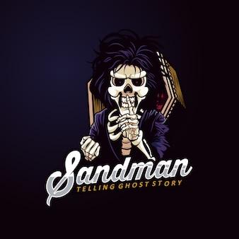 Sandman maskottchen logo skeleton gost