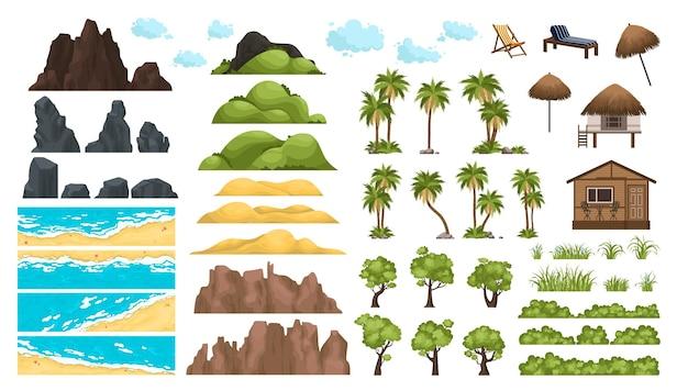 Sandstrände tropische palmen berge und hügel ozean horizont wolken und grüne bäume strand landschaft...