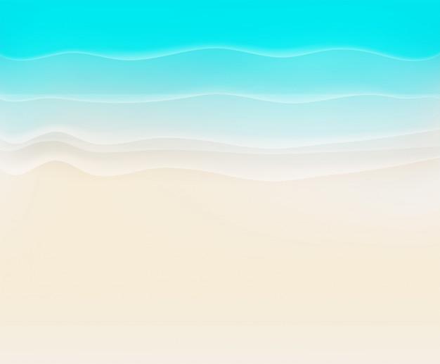 Sandstrand mit kalligraphischem logo. genießen sie sommerferienkonzept