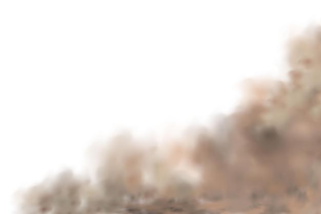Sandsturm, eine staub- oder sandwolke fliegt. realistisch