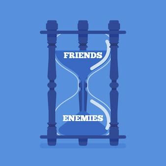 Sanduhr-gerät misst den übergang von freunden zu feinden. instrument, metapher, die den wechsel der gefallen, vertrauen zu feindseligen, unfreundlichen, gegensätzlichen beziehungen zwischen menschen zeigt.