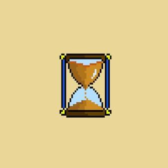 Sanduhr mit sanduhr im pixel-art-stil