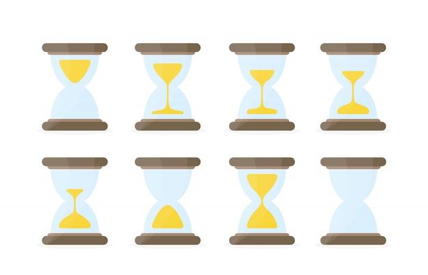 Sanduhr sprites illustration für animationsrahmen. farbige sanduhren auf weißem hintergrund. verwendung in der spieleentwicklung, in handyspielen oder in der bewegungsgrafik.