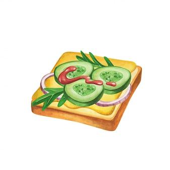 Sandwich aquarell. fast-food-mahlzeit auf aquarellillustration.