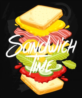 Sandwich auf tafel