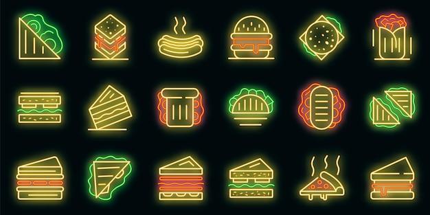 Sandwich-bar-symbole gesetzt. umrisse von sandwich-bar-vektorsymbolen neonfarbe auf schwarz