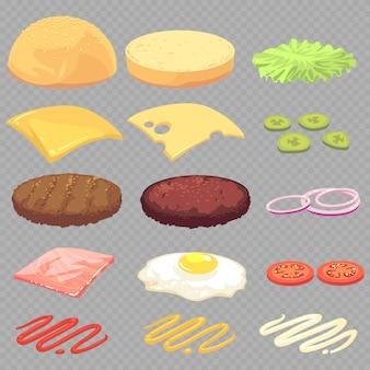 Sandwich, burger, cheeseburgerlebensmittelinhaltsstoffkarikatur stellte auf transparentes ein