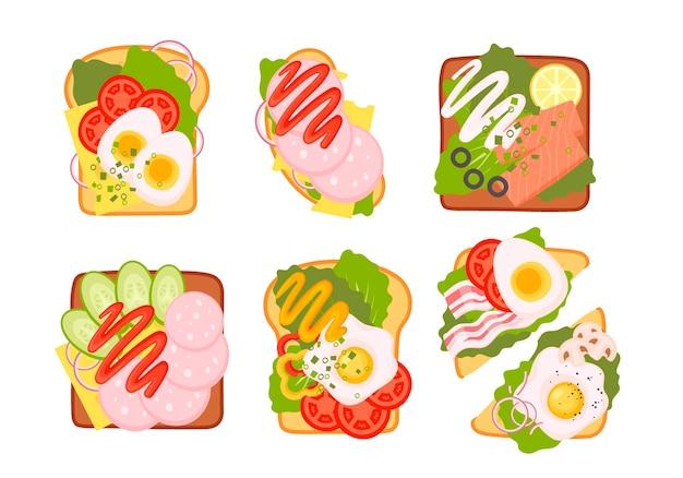 Sandwich-draufsicht-set. burger-toast mit ei, tomate, zwiebel, salat, käse für gesundes frühstück oder mittagessen auf weißem hintergrund. fast-food-elemente, flache vektorillustration.