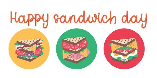 Sandwich. fröhlichen sandwich-tag. lustige vektorgrafik im flachen cartoon-stil. isoliert auf weißem hintergrund.