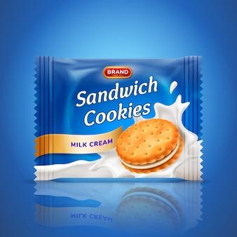 Sandwich-kekse oder cracker-verpackungsdesign. einfache verwendete schablone lokalisiert auf blauem hintergrund. essen und süßigkeiten, backen und kochen thema. realistische 3d-illustration.