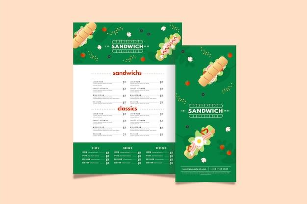 Sandwich restaurant menüvorlage