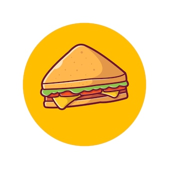 Sandwich-symbol. schinken-und schweizer käse-sandwich, lebensmittel-ikonen-weiß lokalisiert