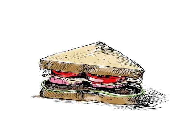 Sandwich-umrisszeichnung hand gezeichnete skizze vektor-illustration