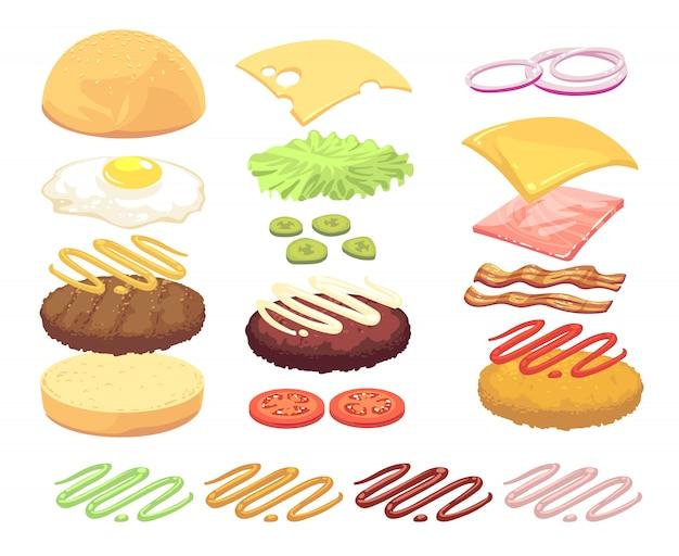 Sandwich- und burgerlebensmittelinhaltsstoff-karikatursatz