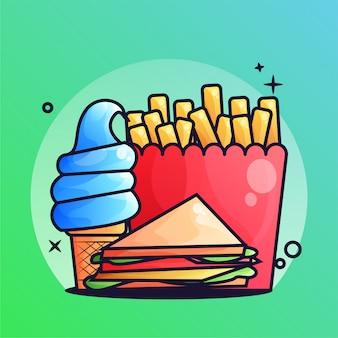 Sandwich und pommes-frites mit eiscreme-steigungs-illustration
