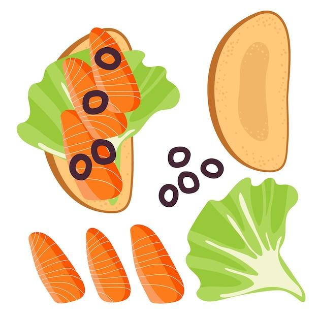 Sandwich-zutaten sandwich mit salatblatt-oliven lachs-snack frischer lachs-fisch-toast